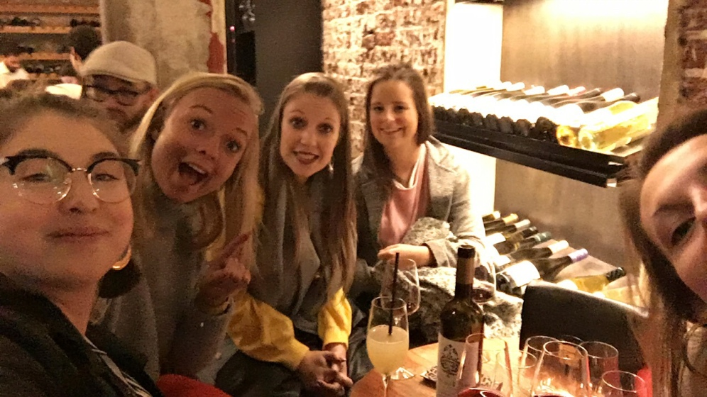 Drinking wine at a wine bar in Borough Market